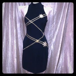 TADASHI NAVY BLUE DRESS WITH GOLD ACCENTS